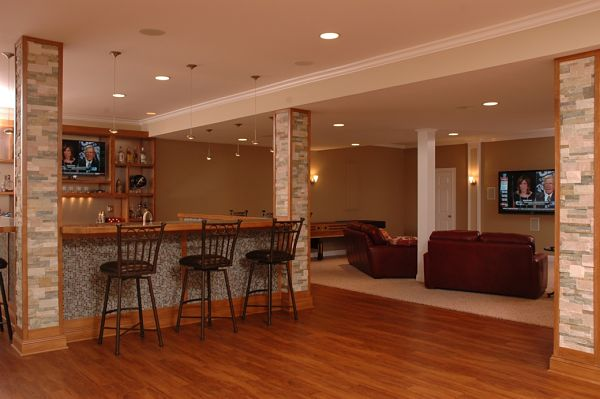 basement sports bar and media room