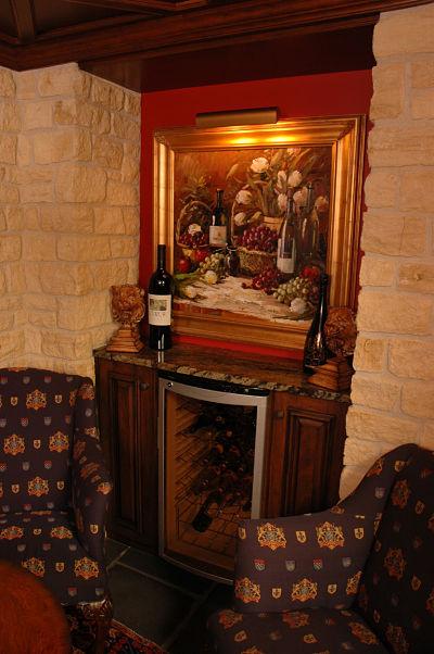wine bar with artwork display