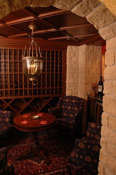 basement wine tasting room