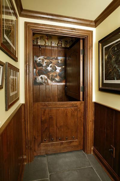 dog grooming area with dutch double door