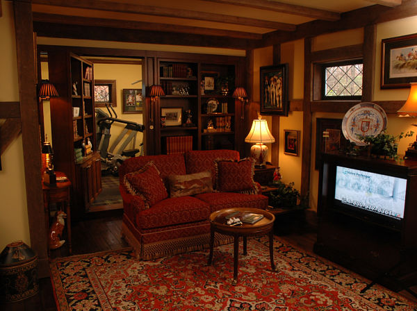 basement sitting room and hidden door