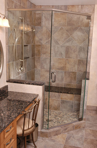 Walk-in shower with river rock flooring