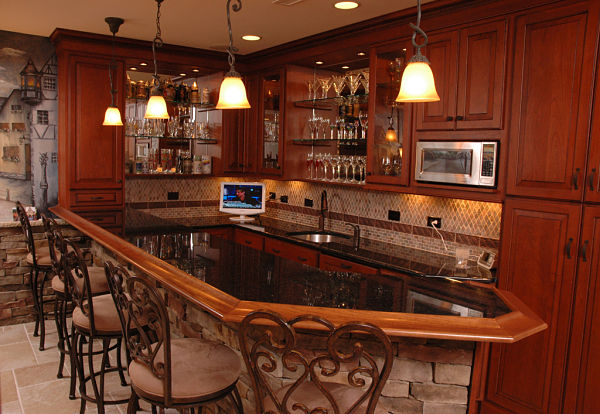 basement kitchen with bar seating