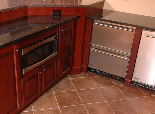 under counter microwave and drawer refrigerator