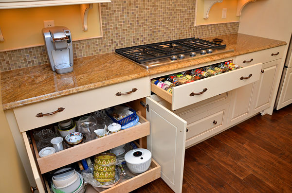 kitchen cabinet with slide out shelves