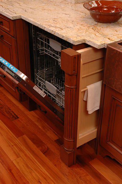 kitchen cabinet with towel storage