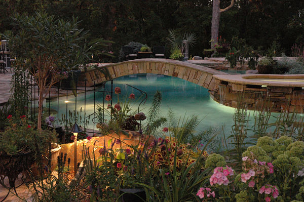 stone bridge over pool