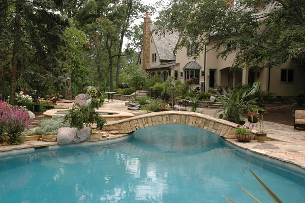 backyard retreat with lagoon style pool