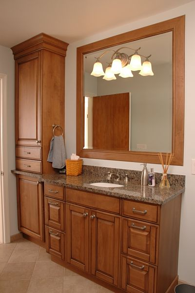 cabinet knobs and pulls matched to bathroom fixtures
