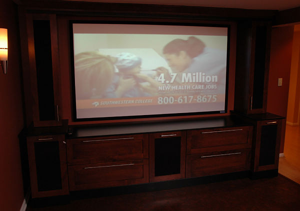 custom cabinets for basement home theater