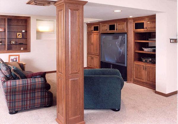 custom cabinets for basement media center