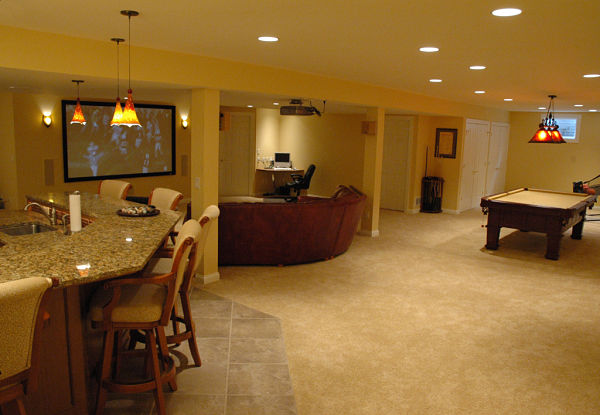 basement sports center with projection screen