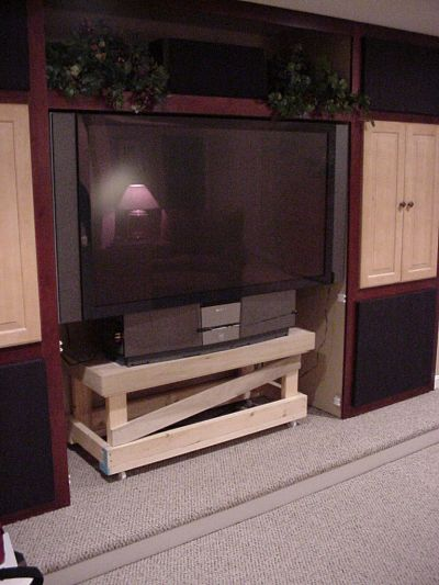 custom media center cabinets with panel removed