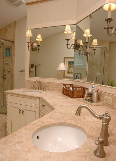 bathroom vanity with uplight sconces