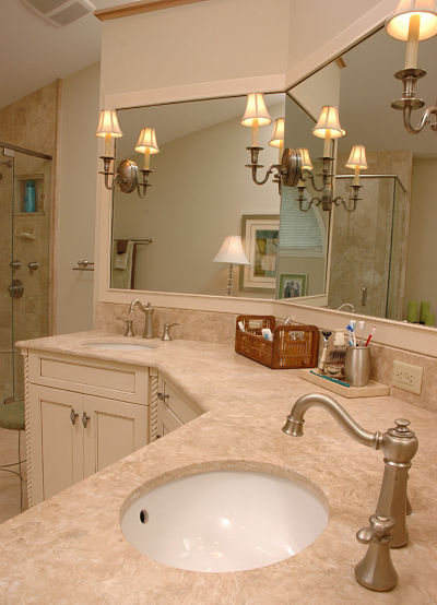 bathroom vanity with uplight sconces