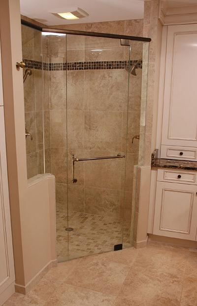 walk-in shower with fan/light unit