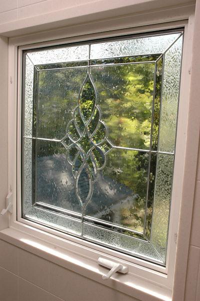 textured stain glass bathroom window