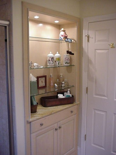 bathroom shelves with accent lights