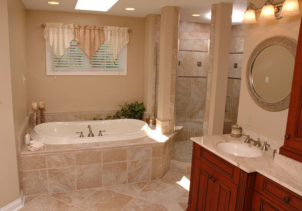 bathroom with natural and task lighting