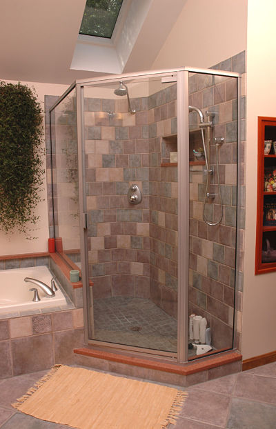 walk in shower with skylight