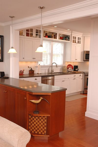 kitchen peninsula with granite countertop