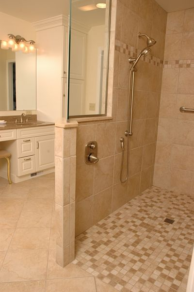 universal design shower with slip resistant flooring