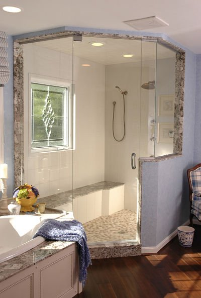 elegant master bathroom with a walk-in shower