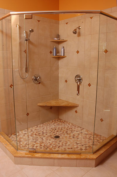 neo-angle walk-in shower with custom glass surround
