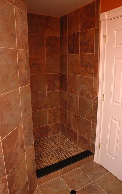walk-in shower with no door
