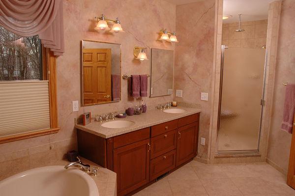 walk-in shower with hinged door