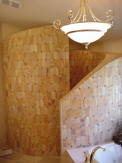 custom walk-in shower with curved walls