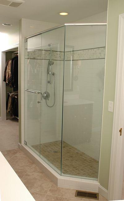 walkin shower with glass surround