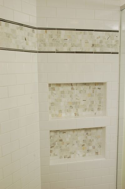 shower subway wall tile and niches