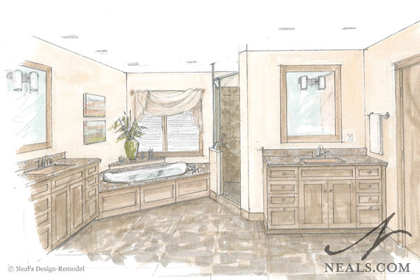 luxurious master bath perspective drawing