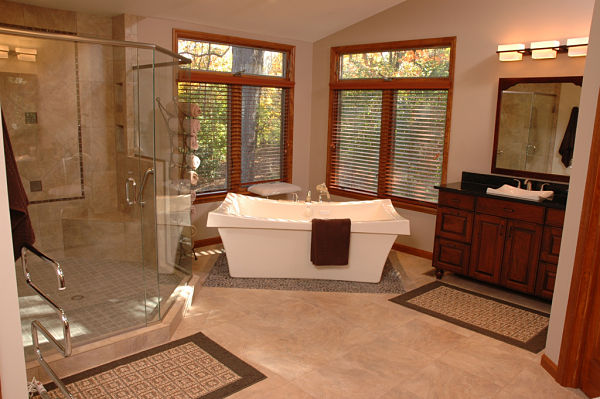 spacious master bath with walk-in shower