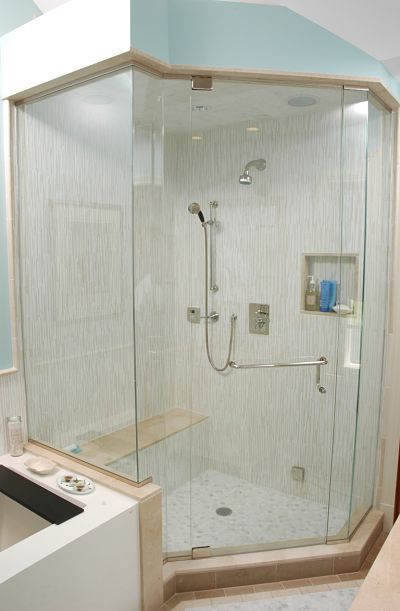 enclosed walk-in shower with steam bath