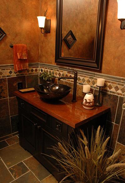 half bath with vessel bowl sink