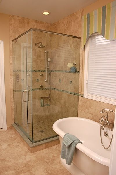 free standing tub and walk-in shower