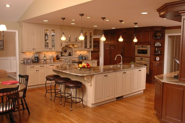 kitchen with white and cherry cabinets