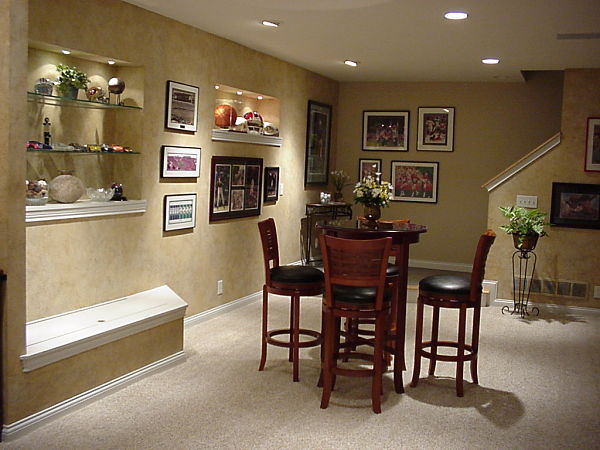 basement shelves and seat bench storage