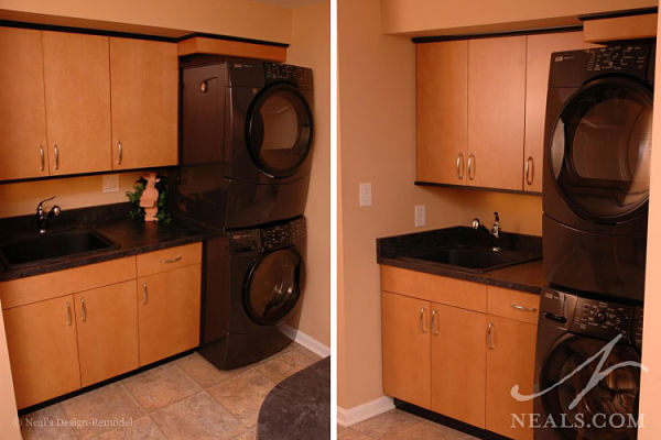 basement with stacked washer and dryer