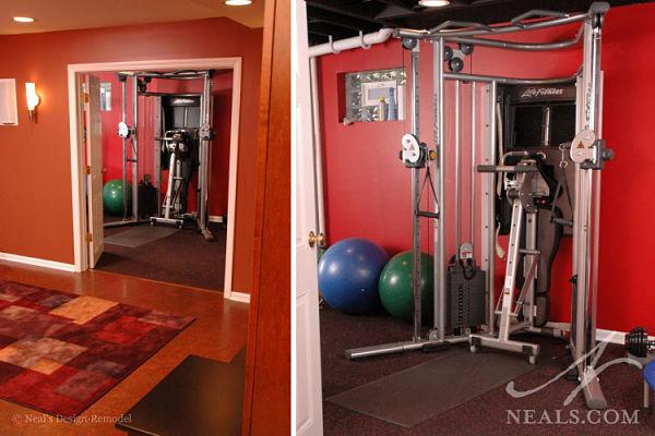basement storage for exercise equipment