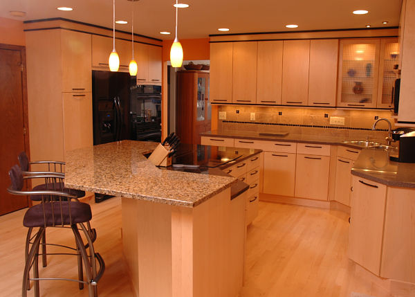 contemporary kitchen with frameless cabinets