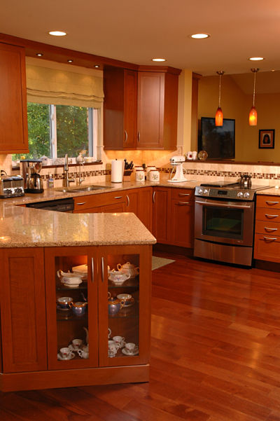 kitchen with wide plank wood floors