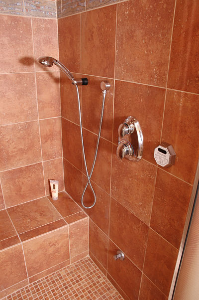 shower bench and slip resistant flooring
