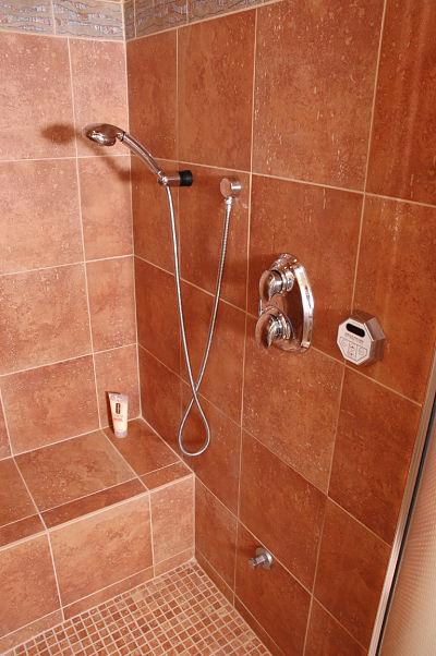 shower bench and slip resistant flooring