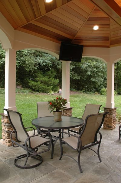 outdoor living room with TV