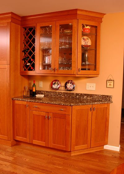 Kitchen with Glass Door Cabinets