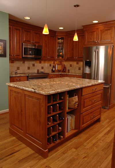 Kitchen Island with Open Shelf Storage