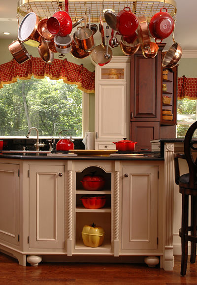 Kitchen with Hanging Storage Over Island